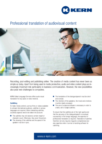 Infosheet Professional translation of audiovisual content