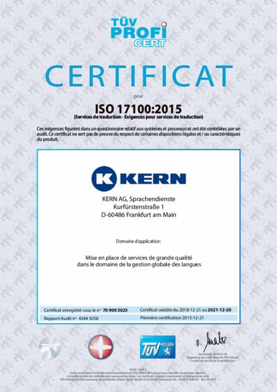 Téléchargement certificat ISO 17100:2015