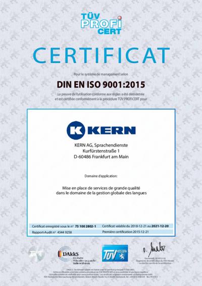 Téléchargement certificat DIN EN ISO 9001:2015
