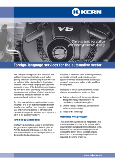 Info sheet on automobile sector