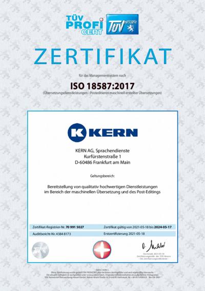 Download Zertifikat ISO 18587:2017