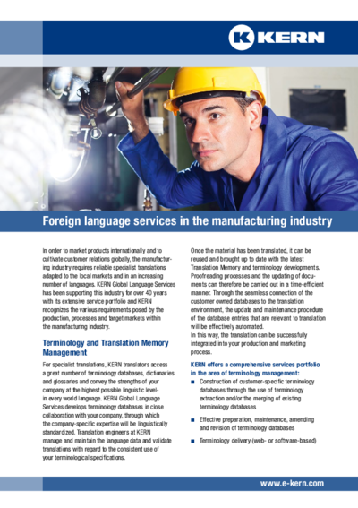 Foreign language services for the manufacturing industry