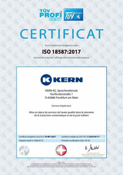 Téléchargement certificat ISO 18587:2017