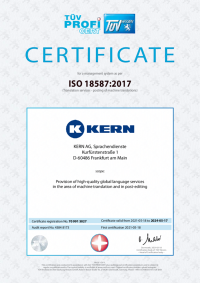 Download certificate ISO 18587:2017
